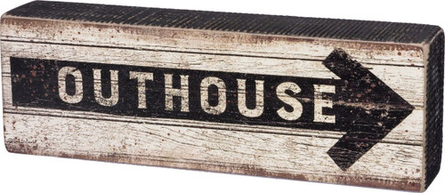 Adds instant country charm to your decor! Outhouse wood sign with arrow.