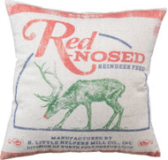 "Red-Nosed Reindeer Feed Sack Christmas Throw Pillow 16"" x 16"""