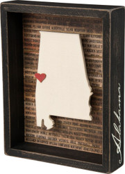 Alabama State Silhouette Box Sign by Primitives By Kathy