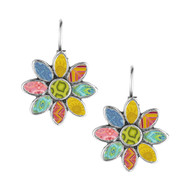 Go Boho! Jilzarah's flower bezel earrings with clay inlay.  Eyecatching!