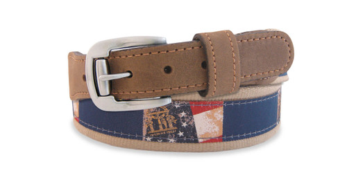 Georgia State Flag Ribbon Belt. Zep-Pro is a manufacturer of fine leather belts in the USA