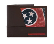 Tennessee State Flag. Brown Leather Bi-fold Men's Wallet Gift Idea!