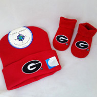 Georgia Bulldogs Infant Gift Set from Creative Knitwear comes with booties and hat