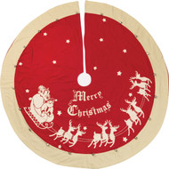 "Large tree skirt is 52"" diameter with twenty-one metal jingle bells. Perfect for most 6 - 8 foot trees."