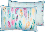 Watercolor pastels feather pillow is double sided with arrows on the other side from Primitives By Kathy