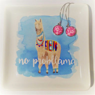 No Probllama! Fun and functional trinket tray with script writing and pastel artwork.