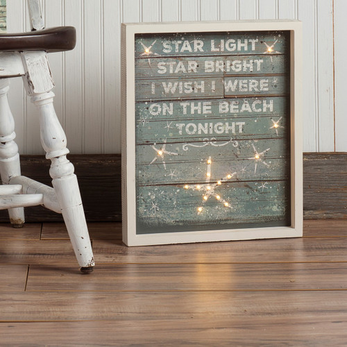 Light Up LED Wood Beach Sign - Auto Shutoff Primitives By Kathy #30882