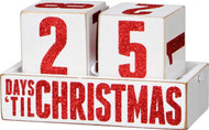 Countdown days until Christmas - Sparkly red glitter on white wood blocks