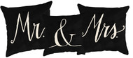 Mr.  and Mrs. accent pillows.  Black and White. Three piece set.