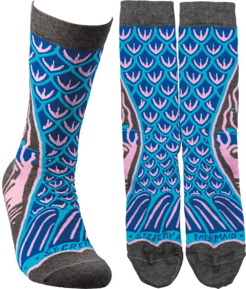 Secretly A Mermaid - Gorgeous Blue Socks With Mermaid Fin Design!