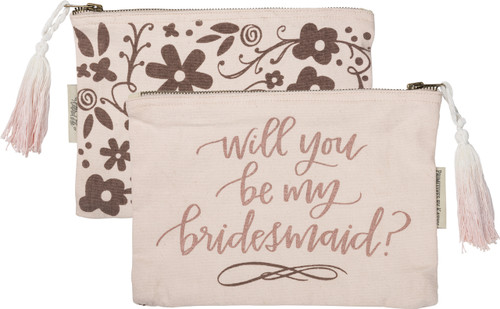 Delightful cosmetic bag - Will You Be My Bridesmaid? Beautiful blush pink with rose gold hand lettering and a dip dyed tassel.
