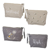 Embroidered makeup accessory travel bag.  Beeyoutiful and Wish Designed exclusively for Primitives By Kathy!