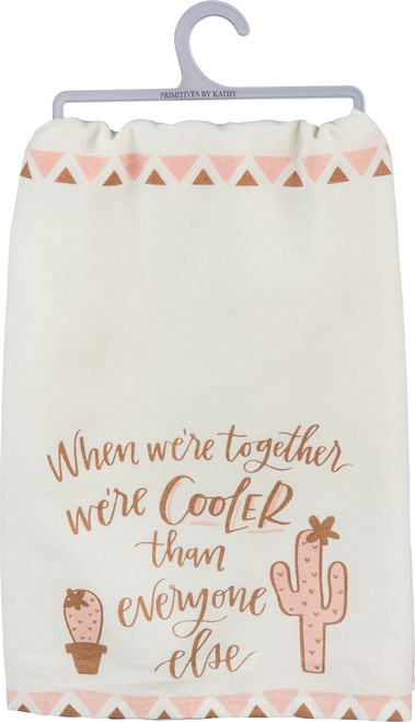 Pink and rose gold accents on adorable and humerous cactus dish towel