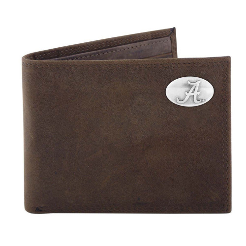 Roll Tide Roll! Beautiful dark brown crazy horse leather passcase wallet from Zep-Pro, makers of quality leather goods.