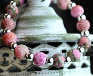 JILZARA Vintage Pink Khaki Peach Petite Silverball 8mm Handmade Clay Bead Floral