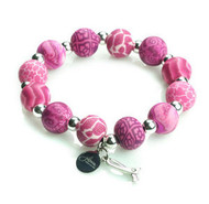 JILZARA Pink Ribbon Charm Medium Breast Cancer Awareness Bracelet Clay Beads NWT
