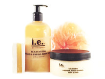 MANGO MADNESS DAYTIME REGIMEN GIFT SET:  Price $42.  This set consists of four items in our mango and papaya scent.  Receive our Cleansing Soap 3.6 oz., Nourishing Body Butter 8 oz., Rejuvenating Body Wash 12 oz., and a nylon pouf.  Plus the Free Scented Sachet Bag.  Suitable for women, children, and men.