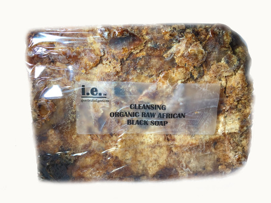 CLEANSING ORGANIC RAW AFRICAN BLACK SOAP:  THIS IS THE ONLY PRODUCT THAT IS NOT FORMULATED BY I.E. SPA INDULGENCES.  This soap was purchased from a wholesale distributor that specializes in pure african products that are made in Ghana.  We handcut these blocks of soap from a 10lb slab.  Each is cut slightly different so the size and shape differs by bar.  This soap is formulated with the skins of the Plantain fruit by roasting it in a clay oven to achieve a particular color, texture and fragrance. It is then mixed with palm oil and palm kernal oil, and shea butter.  We packaged the soap in a clear soap box.  It can be used on your body or your face.  If using only on your face, cut off a small amount of the bar and keep the remainder of the bar sealed to preserve the bar. The bar will harden when exposed to air.  Size:  The average weight of each bar is 7oz.