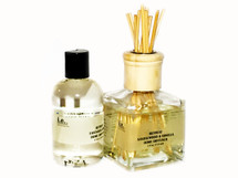 This elegant glass diffuser bottle will fit into any home decor.  It is filled with our fragrant diffuser oils and capped with a natural wood top.  It will provide a faint scent to any room.  Small enough for use in a bathroom or a dorm room.  It is safe to use in rooms throughout the day.  Unlike lovely scented candles, they do not require constant oversight because there is no flame to worry about and scenting the room does not require a flame or an electrical outlet. Directions:  Pour the scented diffuser oil base into the glass diffuser bottle.  Screw on the natural top to secure the bottle.  Put all of the diffuser reeds into the top opening of the bottle.  Place on a flat surface, away from drafty areas. Turn the reeds every day for the first week to ensure the reeds are fully saturated with the scented oil base.  Ingredients:  this diffuser oil base is manufactured from a reputable wholesaler in California to specifically blend with fragrance oils.  We use essential oils to fragrant our diffusers.  This diffuser base is a Volatile Organic Compound that is compliant to meet California regulations.  The California Air Resources Board (CARB) sets a limit to 18% for liquid air fresheners, so this diffuser base, which contains 6% alcohol, complies.  This diffuser oil base makes fragrance thinner, or less viscous, so that it flows up the reed easily and fragrances the air in the room.  Reed diffuser does not have any added chemicals.  Size:  Glass Bottle, 6.6 oz.  Scented Diffuser Oil is packaged for delivery in a separate 8 oz bottle (pictured is a 4 oz bottle).  That way you have a little extra to refill your bottle when the bottle gets low.  Note:  This comes with 10 Reed Diffusers.  Customers:  Be sure to turn reeds every couple of days.  Purchase refill oils in 8 oz bottles.  CAUTION:  Keep out of reach of children and away from pets. Keep away from drafty areas, fans, and flames.  Not for topical application.  Not for internal use.