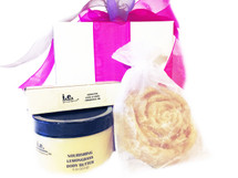 IESI GIFT SET:  We picked these items especially for you.  This gift set is a favorite at our events.  They are pre-packaged to ship immediately for daily use.  The scents compliment one another.  This gift set consists of 3 items, beautifully wrapped in an organza bag.  Receive one each of the following items:  (1) Nourishing Body Butter (4 oz);  (1) Handmade Soap (Small or Medium oz); (1) Seductive Fragrance Oil (.15 ml.); (1) Organza Bag WHILE SUPPLIES LAST.  LIMITED TIME ONLY.   SPECIAL OFFER:  FREE GIFT BAG.