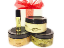 DELIGHTFUL SCENTS GIFT SET:  Select your favorite scent or use this as an opportunity to sample a variety of scents.  Receive one each of the following items:  (1) Balancing Dead Sea Salt Scrub (8 oz) (Select one of our popular scents); (1) Nourishing Body Butter (8 oz) (Select one of our popular scents);(1) Seductive Fragrance Oil (.15ml) (Select one of our popular scents); (1) Stimulating Sugar Scrub (8 oz) (Select one of our popular scents). Customers:  FOR EXTERNAL USE ONLY.  Click on the images for detailed descriptions for each item included in this pack.   See our other I.E. Spa Indulgences Gift Sets.  Although natural and organic ingredients are used, it is possible for customers with sensitive skin or allergies to have a reaction to scents or nut butters used.  Always do a skin test on the inside of your forearm to ensure you do not have an adverse reaction to the product.