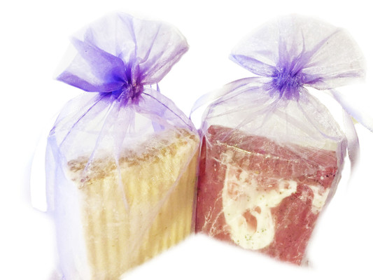 CLEANSING SOAPS:  Available in a number of different shapes and sizes including our massage-theme.  They are made from soap melt bases of shea butter, mango butter, goat milk, buttermilk, coconut oil, cocoa butter, glycerin, and a three-butter blend.  In crafting our soaps, we add, fragrance and essential oils, botanicals, natural coloring, and organic unrefined coconut oil to add moisture.  All soaps are packaged in an organza bag.  Soap dishes are sold separately and are not included in the purchase of our line of cleansing soaps (unless specified).  Customers:  Select the scent of your choice.  FOR EXTERNAL USE ONLY.