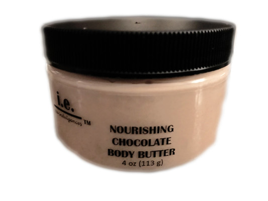 "CHOCOLATE BODY BUTTER:  This formulation of our famous Body Butter is ALMOND-FREE for all of those with almond allergies.  This chocolate body butter was first introduced during the holiday season and after Valentine's Day, we decided to offer it as part of our regular line for a limited time.  Nourish your body with the buttery goodness.  A little goes a long way to provide the moisture your body craves.  It is made with the finest natural ingredients that your body will love. Enjoy treating yourself to this nourishment daily.  You will not only enjoy how your skin feels but you are sure to have people saying to you, ""wow, you smell good enough to eat! what is that you are wearing?""  It is sure to provide your skin with the nourishment it needs (in all climates) without leaving your skin feeling greasy.  It is a customer favorite!  Ingredients:  Proprietary blend of five natural butters including pure african shea butter, mango butter, monoi butter, cocoa butter, and hemp butter, beneficial oils of organic unrefined coconut oil, argan oil, and hemp seed oil; beeswax (in warmer climates), aloe vera, vitamin E, and fragrance oils.  Directions:  Apply a small amount of the nourishing body butter into the palm of your hand, rub together, apply to the desired body part, and massage into skin. FOR EXTERNAL USE ONLY."