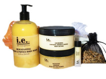 LOVE HER GIFT PACKAGE:  consists of eight items she will enjoy giving her body the attention she needs to relax after a stressful day. 1 (12 oz) Rejuvenating Body Wash; 2 (3.5 oz) Cleansing Soaps; 1 (8 oz) Nourishing Body Butter; 1 (8 oz) Balancing Dead Sea Salt Scrub; 1 (2 oz) Luxuriating Moisturizer; 1 (.15 ml) Hydrating Lip Balm; 1 Nylon Bath Pouf; and 1 Scented Sachet in an Organza Bag.  FOR EXTERNAL USE ONLY.