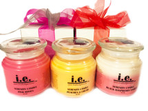 TRIO SERENITY SCENTED CANDLES GIFT SET:  These fragrant Candles—when lit—provide a scintillating aroma to any room, creating a relaxing environment.  Ingredients:  Each is made with soy wax and fragrance oils/essential oils.   Some candles also have vegetable wax, beeswax, additive coloring, and embellishments. Enjoy this set of three.  Keep one for yourself and gift the others or keep them all to place throughout your home.   Available in a variety of scents.  Candles should only be burned for up-to two hours at a time and the wick trimmed prior to re-lighting the candle.  Burn on heat-resistant surfaces.  CAUTION:  Always use caution when lighting a candle.  Do not keep candles lit that are unattended.  Keep out of reach of children and away from pets.  Keep away from items that may catch fire and clear of drafty areas.