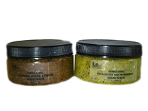 STIMULATING SUGAR SCRUB:  Remove the unwanted dead skin with this sugar scrub that is gentle enough to use once or twice a week as a face exfoliate or on the entire body for those with sensitive skin.  This sugar scrub may be used on the driest parts of the body including elbows, feet, and knees.  Where applied, the desired body part will be left moisturized and feeling soft.  Ingredients: Made with organic raw sugar, raw organic unrefined coconut oil, essential oils, green tea leaves, and vitamin E.  Green tea powder is added to the eucalyptus and mint scent.  Size:  8 oz. (227g).  Also available for a party favor is our Stimulating Sugar Scrub Mini (2 oz.).  Ask about bulk purchases and discount prices.  Customers:  You may also enjoy using this blend on hands and feet prior to using the Soothing Body Bar Scrub. You will feel a nice tingling sensation from the eucalyptus and mint scent.  Pregnant women should consult their physician before using any products containing peppermint essential oils.  FOR EXTERNAL USE ONLY.