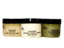 MINI TRIO PACK:  With this trio, you get one Balancing Dead Sea Salt Scrub Mini, one Nourishing Body Butter Mini, and one Stimulating Sugar Scrub Mini.