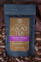 """A truly elegant combination of warm, rich, and seductive flavors.  The traditional pairing of hazelnut and chocolate compliment perfectly to enhance the natural flavors of Heirloom Cacao Tea. Experience the rich aroma of this tea as it lures you in for a long and savory sip. Euphoric and relaxing, this seductive tea will warm your senses and soothe the soul.  Using our knowledge as farm to bar chocolate makers, we have crafted a delicate cacao tea using our rare, heirloom Arriba Nacional beans. Imported directly from our farmer in the Los Rios region of Ecuador, this exotic and rare bean is roasted to release the beautiful flavors within. This Heirloom Cacao Tea uses both roasted nibs and theobromine-rich shells to create a delicate tea with lovely chocolate nuances.  Cacao Benefits:  Rich in antioxidants, amino acids, and magnesium Cacao contains Theobromine, said to give a euphoric feeling Cacao contains Anandamide, an endorphin, whose name appropriately translates as """"bliss"""" Brew, sip and enjoy the bliss"""