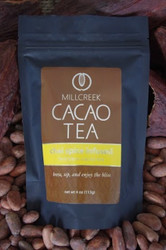 """Enjoy the exotic journey with a blissful fusion of all natural spices.  Chai spice is infused in the flavor of this unique blend of roasted cacao nibs and theobromine-rich shell. Experience the exotic flavor of chai spices that transports you to a blissful and relaxed state of euphoria. Made from the same 100% single source Ecuadorian cacao beans used in our artisan chocolate, this tea has a delicate cacao flavor with beautiful aromas.  Using our knowledge as farm to bar chocolate makers, we have crafted a delicate cacao tea using our rare, heirloom Arriba Nacional beans. Imported directly from our farmer in the Los Rios region of Ecuador, this exotic and rare bean is roasted to release the beautiful flavors within. This Heirloom Cacao Tea uses both roasted nibs and theobromine-rich shells to create a delicate tea with lovely chocolate nuances.  Cacao Benefits:  Rich in antioxidants, amino acids, and magnesium Cacao contains Theobromine, said to give a euphoric feeling Cacao contains Anandamide, an endorphin, whose name appropriately translates as """"bliss"""" Brew, sip and enjoy the bliss"""