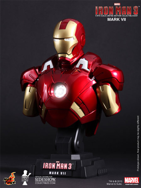 Iron Man 3 Mark VII Limited Hot Toys 1:4 Bust w Light-Up Features_902023_NRFB
