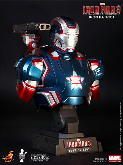 Iron Man 3 Iron Patriot Limited Hot Toys 1:4 Bust w Light-Up Features_902022_NRFB