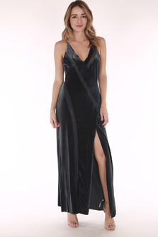 front shows mesh surplice V-neckline with mesh vertical cut outs and long slit at front. Maxi length