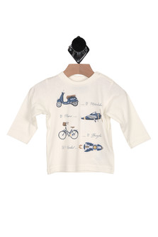 "front of shirt has motorbike. plane, bicycle & rocket printed with verbiage that says ""... by motorbike, by plane... by bicycle, or by rockets..."" with long sleeves"