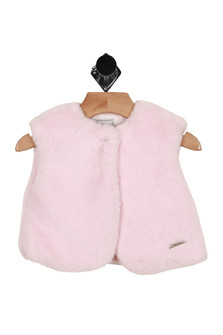 front of vest has silver button closure at top with fluffy pink material all over