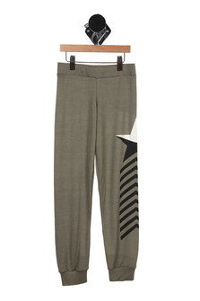 front of pants have elastic waistband with cuffed ankles and black and white star at left side with black arrows pointing up along left side of leg. in olive green color