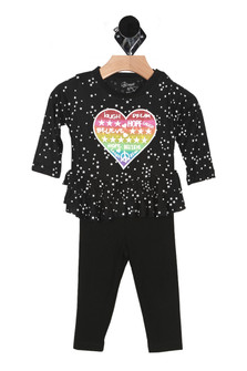 front of top has black background with mini white stars all over with long sleeves and ruffled tiers at bottom hemline. Graphic shows rainbow heart with laugh, dream, hope, laugh, believe written on the inside of the heart. set includes black  elastic waistband leggings.