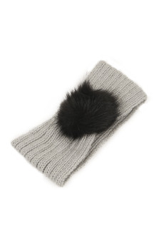 grey knit headband with black furry pom pom at front