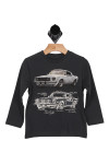 front of shirt has graphic of old muscle car and underneath is a graphic of the blueprint of exact muscle car. Long sleeves with t-shirt style fit.