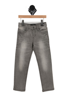 front of pants have snap closure and front pockets with light grey fading at thigh & knee