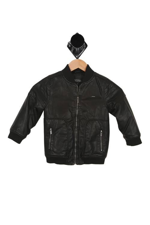 front of jacket has zipper-front closure with 2 zipper pockets and cuffed wrist and bottom hemline. Faux leatther is black