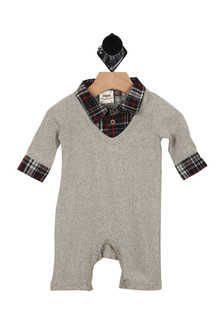 front has grey knit material with faux plaid collar button up shirt. Plaid detailing at sleeve endings. snap closure in between legs