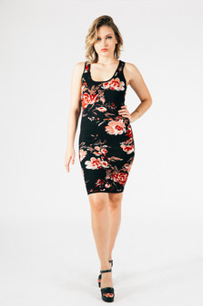 full body image shows dress hitting above the knee paired with strappy heels