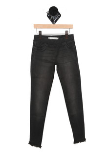 front of jeggings show elastic waistband with faded detailing at thighs and raw edge bottom hemline. jean wash is a dark grey