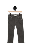 front of pants show zipper & button fly closure with 2 front pockets and slimmer fitting legs.