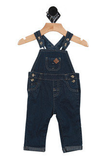 front shows button closures at top straps with front chest pocket, button closures at each side and long pants with snap closure.