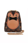 Owl shape at front with black jewel eyes. Background of purse is brown with light brown flowers all over. gold chain